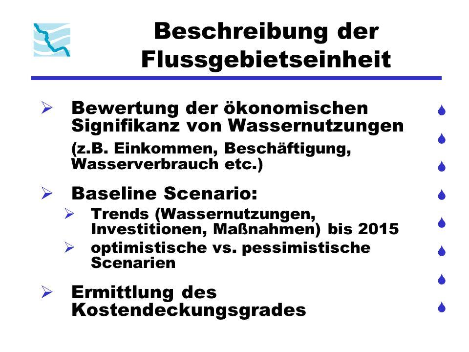Beschreibung der Flussgebietseinheit Bewertung der ökonomischen Signifikanz von Wassernutzungen (z.B. Einkommen, Beschäftigung, Wasserverbrauch etc.)
