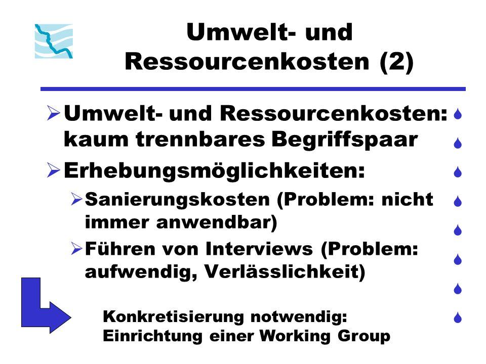 Umwelt- und Ressourcenkosten (2) Umwelt- und Ressourcenkosten: kaum trennbares Begriffspaar Erhebungsmöglichkeiten: Sanierungskosten (Problem: nicht i