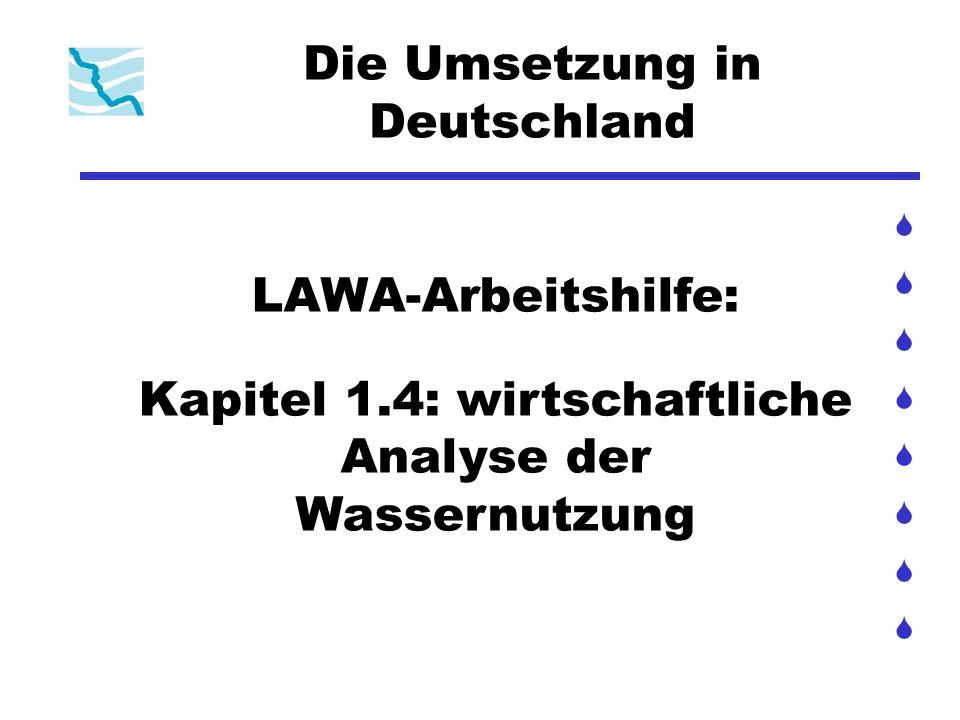 Die Umsetzung in Deutschland LAWA-Arbeitshilfe: Kapitel 1.4: wirtschaftliche Analyse der Wassernutzung