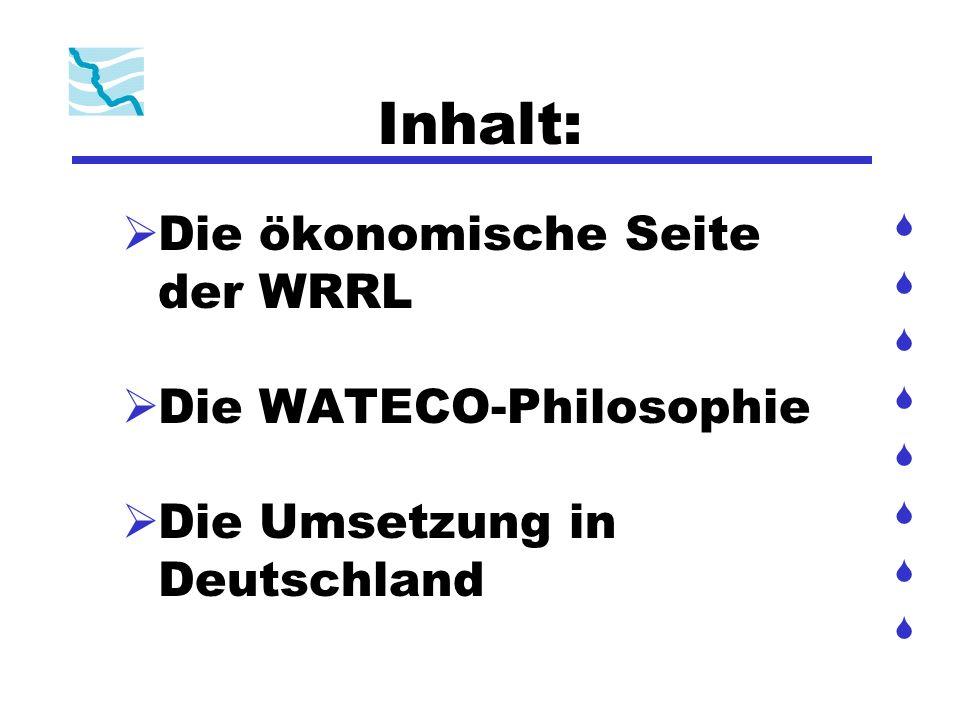 WATECO-Dokument = rechtlich nicht bindende Arbeitshilfe der EU 3-Stufen-Ansatz: 1.Beschreibung der Flussgebietseinheit 2.Identifizierung der wichtigsten Wasserbewirtschaftungsfragen 3.Aufstellung der kosteneffizientesten Maßnahmen