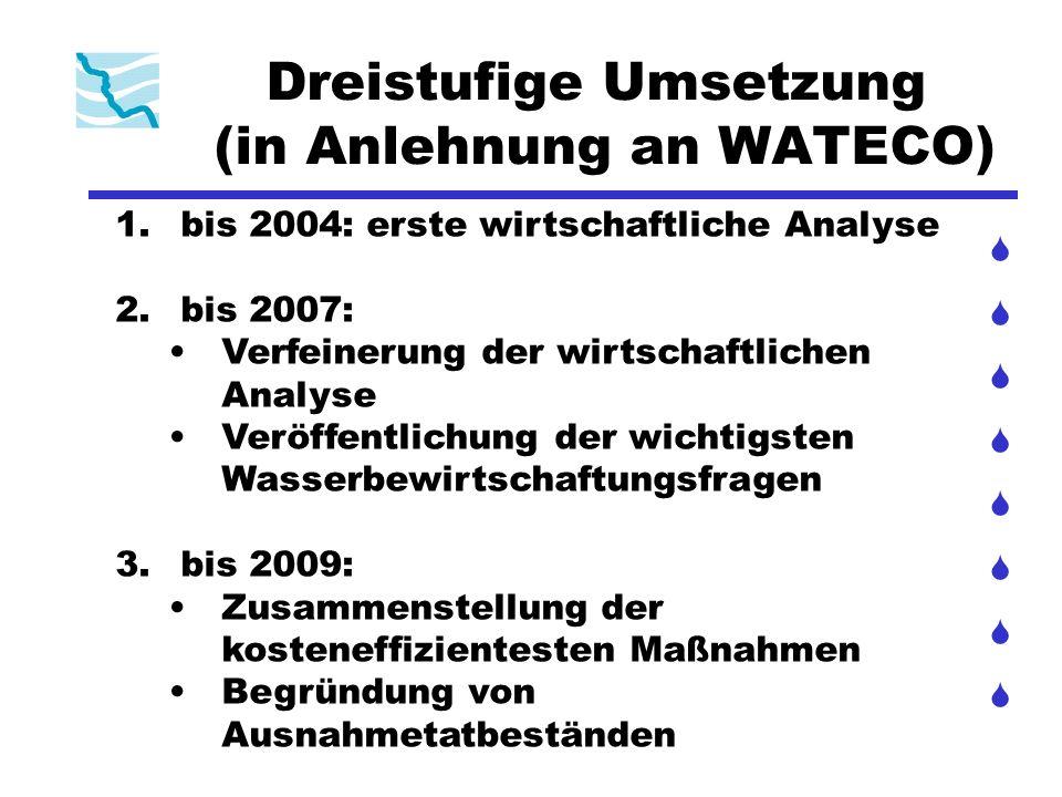 Dreistufige Umsetzung (in Anlehnung an WATECO) 1. bis 2004: erste wirtschaftliche Analyse 2. bis 2007: Verfeinerung der wirtschaftlichen Analyse Veröf