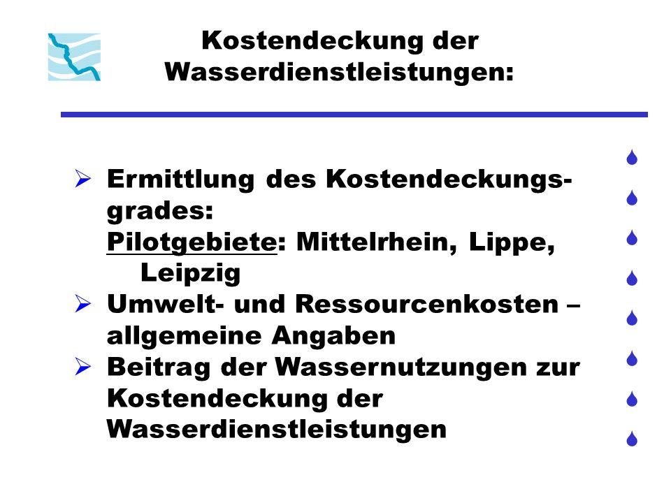 Kostendeckung der Wasserdienstleistungen: Ermittlung des Kostendeckungs- grades: Pilotgebiete: Mittelrhein, Lippe, Leipzig Umwelt- und Ressourcenkoste