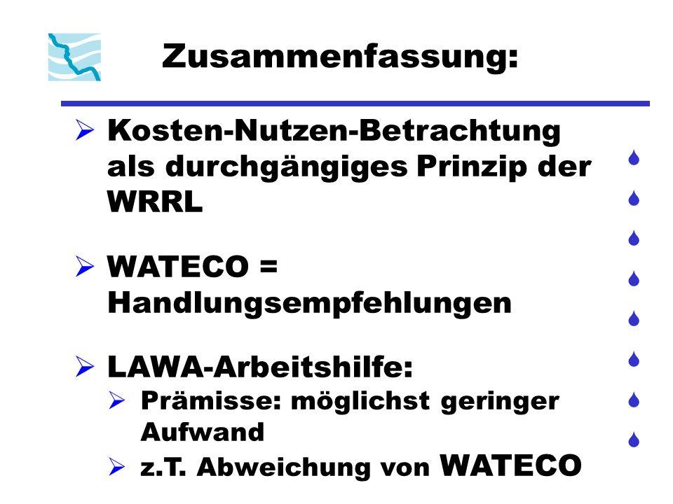 Zusammenfassung: Kosten-Nutzen-Betrachtung als durchgängiges Prinzip der WRRL WATECO = Handlungsempfehlungen LAWA-Arbeitshilfe: Prämisse: möglichst ge