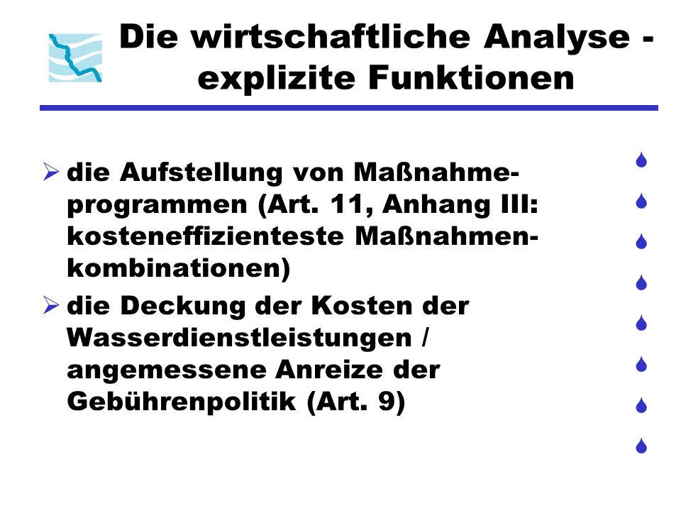 Die wirtschaftliche Analyse - explizite Funktionen die Aufstellung von Maßnahme- programmen (Art. 11, Anhang III: kosteneffizienteste Maßnahmen- kombi
