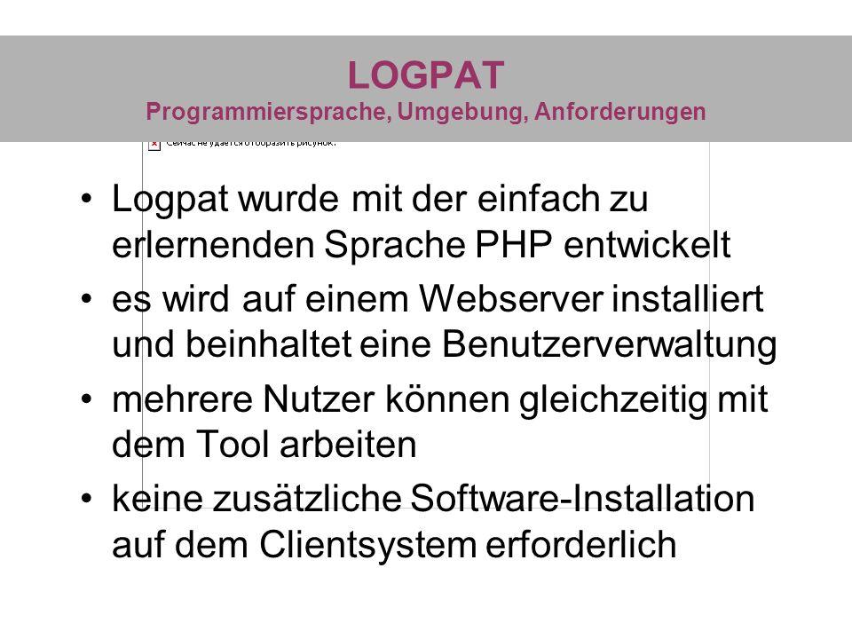 LOGPAT Programmiersprache, Umgebung, Anforderungen Logpat wurde mit der einfach zu erlernenden Sprache PHP entwickelt es wird auf einem Webserver inst