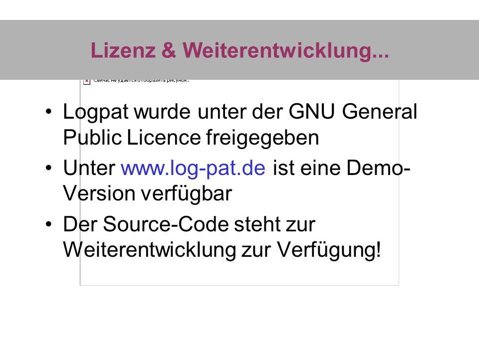 Lizenz & Weiterentwicklung... Logpat wurde unter der GNU General Public Licence freigegeben Unter www.log-pat.de ist eine Demo- Version verfügbar Der