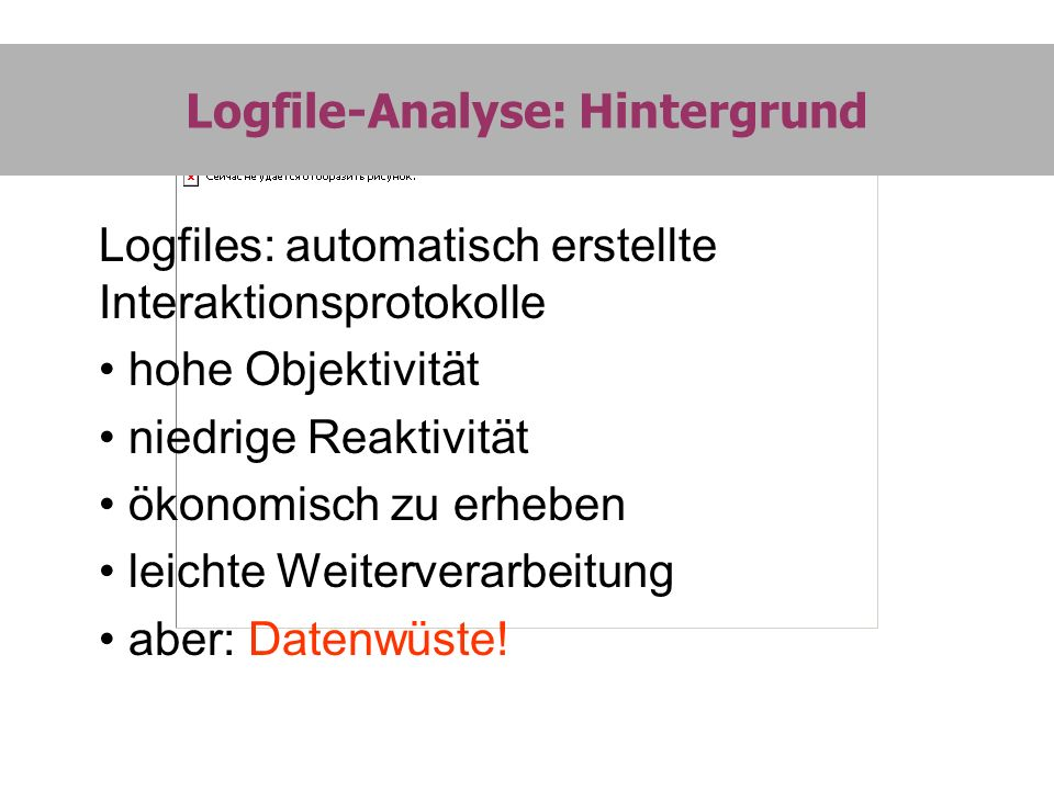 LOGPAT Single File-Analyse: Output II Distanz-Matrix