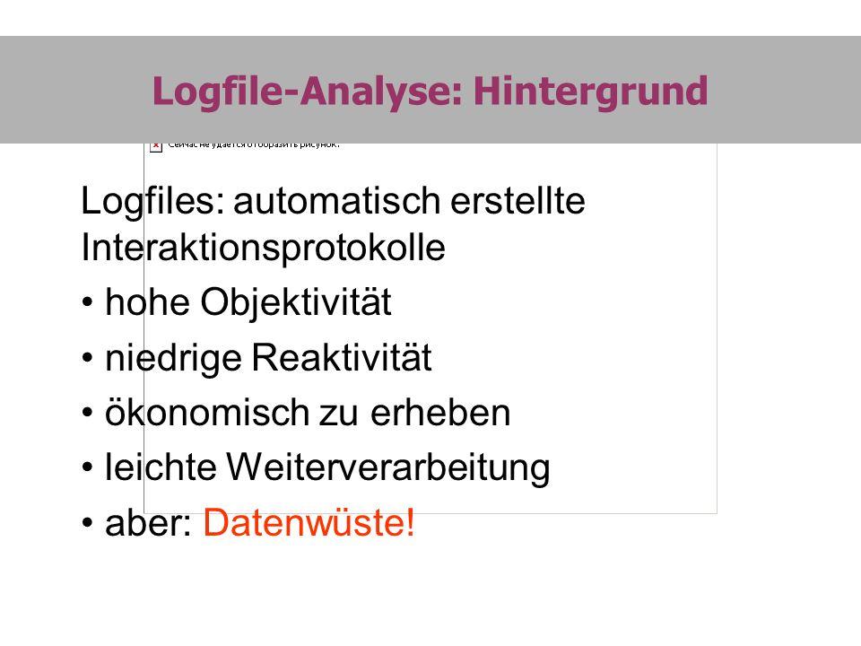 Logfile-Analyse: Hintergrund Logfiles: automatisch erstellte Interaktionsprotokolle hohe Objektivität niedrige Reaktivität ökonomisch zu erheben leich