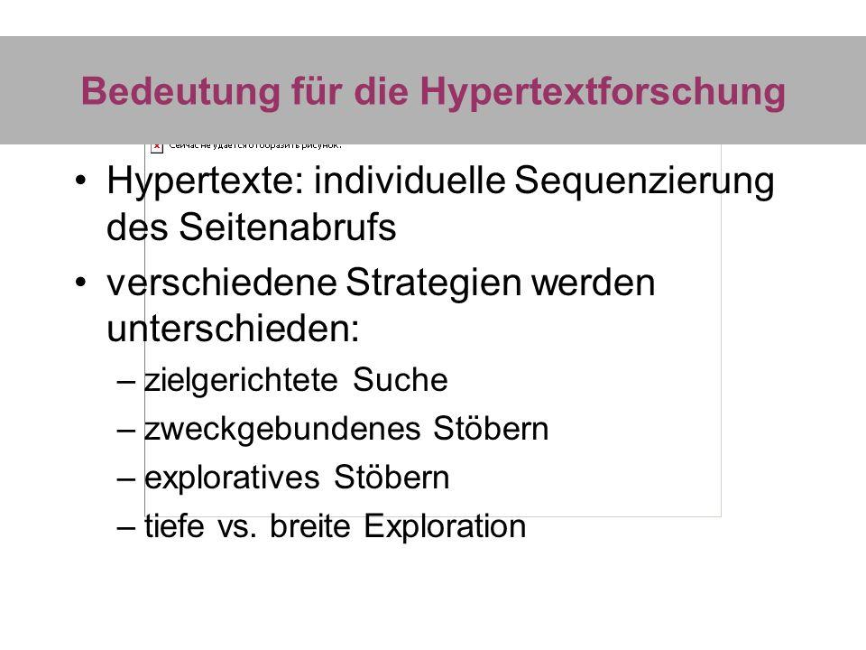 Bedeutung für die Hypertextforschung Hypertexte: individuelle Sequenzierung des Seitenabrufs verschiedene Strategien werden unterschieden: –zielgerich