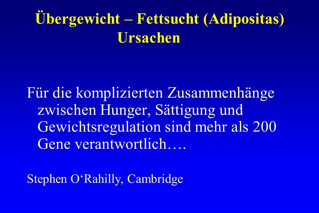 Übergewicht – Fettsucht (Adipositas) Ursachen Für die komplizierten Zusammenhänge zwischen Hunger, Sättigung und Gewichtsregulation sind mehr als 200