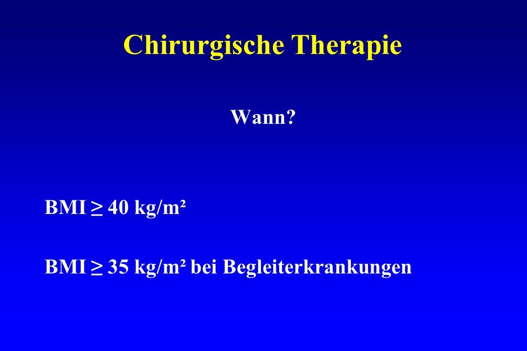 Chirurgische Therapie Wann? BMI 40 kg/m² BMI 35 kg/m² bei Begleiterkrankungen