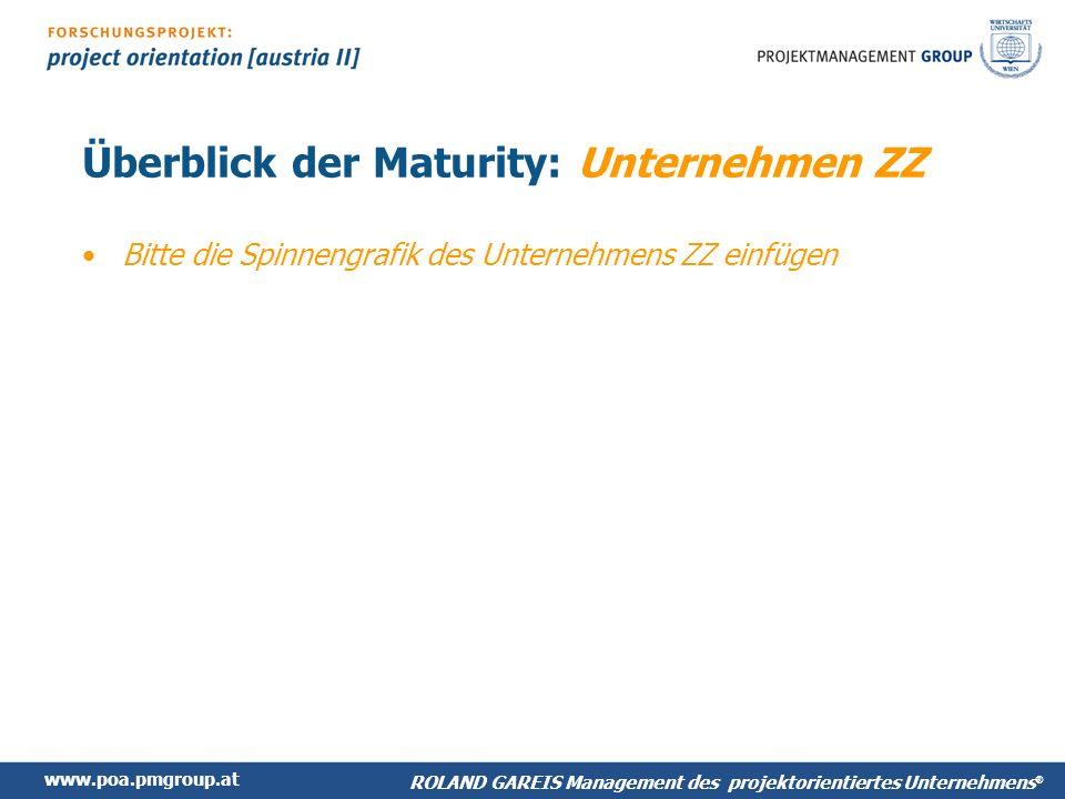 www.poa.pmgroup.at ROLAND GAREIS Management des projektorientiertes Unternehmens ® Überblick der Maturity: Unternehmen ZZ Bitte die Spinnengrafik des Unternehmens ZZ einfügen