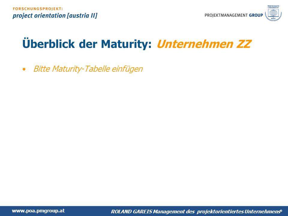 www.poa.pmgroup.at ROLAND GAREIS Management des projektorientiertes Unternehmens ® Überblick der Maturity: Unternehmen ZZ Bitte Maturity-Tabelle einfügen