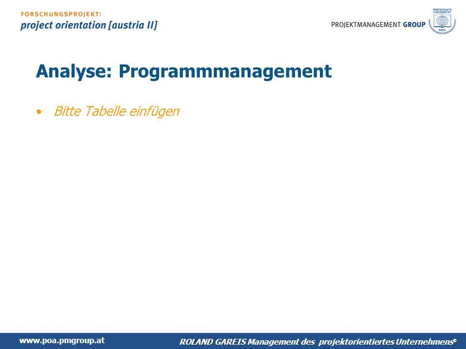 www.poa.pmgroup.at ROLAND GAREIS Management des projektorientiertes Unternehmens ® Analyse: Programmmanagement Bitte Tabelle einfügen