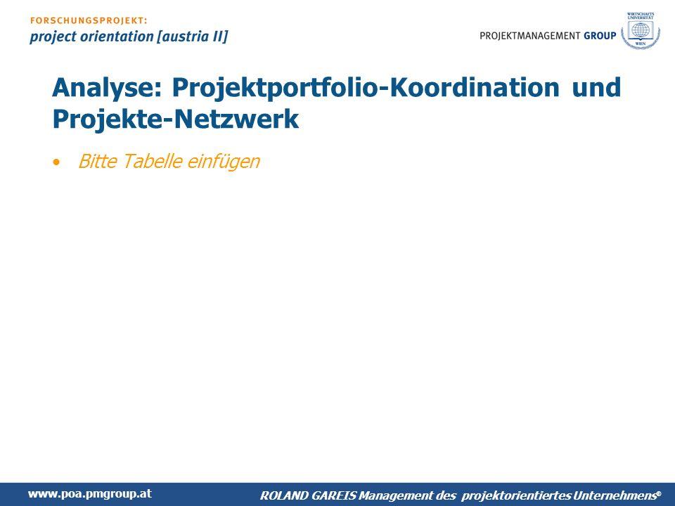 www.poa.pmgroup.at ROLAND GAREIS Management des projektorientiertes Unternehmens ® Analyse: Projektportfolio-Koordination und Projekte-Netzwerk Bitte Tabelle einfügen