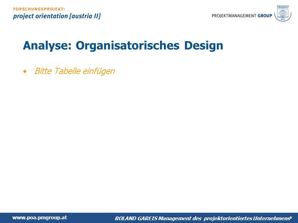 www.poa.pmgroup.at ROLAND GAREIS Management des projektorientiertes Unternehmens ® Analyse: Organisatorisches Design Bitte Tabelle einfügen