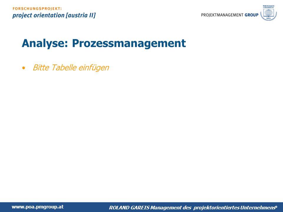 www.poa.pmgroup.at ROLAND GAREIS Management des projektorientiertes Unternehmens ® Analyse: Prozessmanagement Bitte Tabelle einfügen