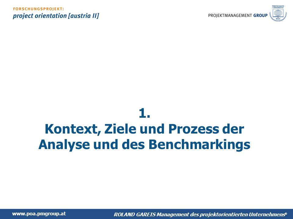 www.poa.pmgroup.at ROLAND GAREIS Management des projektorientiertes Unternehmens ® Benchmarking: Projektmanagement Bitte Tabelle einfügen