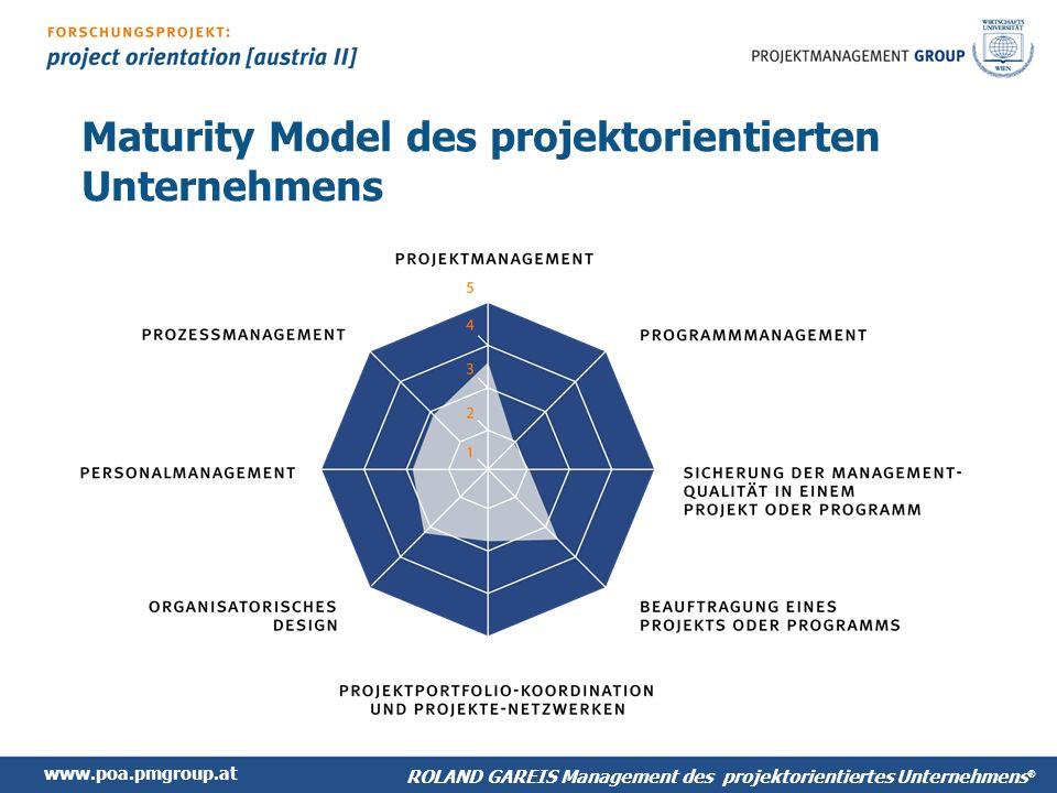 www.poa.pmgroup.at ROLAND GAREIS Management des projektorientiertes Unternehmens ® Maturity Model des projektorientierten Unternehmens