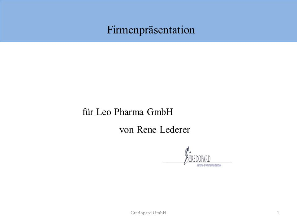 Credopard GmbH1 für Leo Pharma GmbH von Rene Lederer Firmenpräsentation