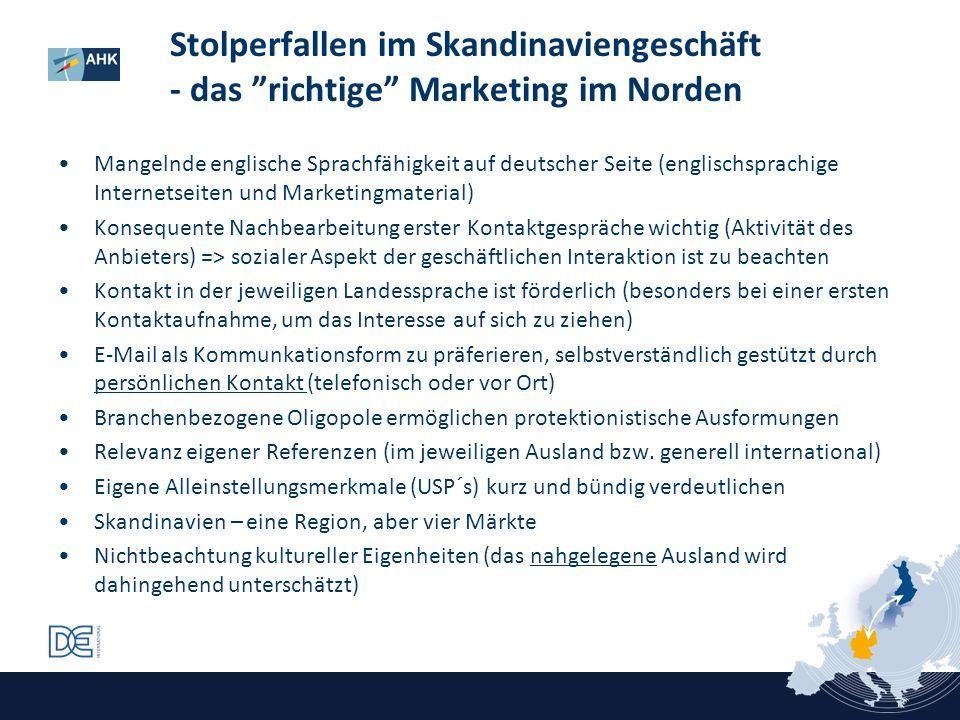 Stolperfallen im Skandinaviengeschäft - das richtige Marketing im Norden Mangelnde englische Sprachfähigkeit auf deutscher Seite (englischsprachige In