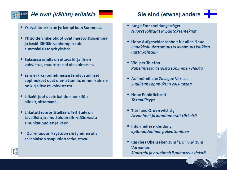 Junge Entscheidungsträger Nuoret johtajat ja päätöksentekijät Hohe Aufgeschlossenheit für alles Neue Ennakkoluulottomuus ja avoimuus kaikkea uutta koh