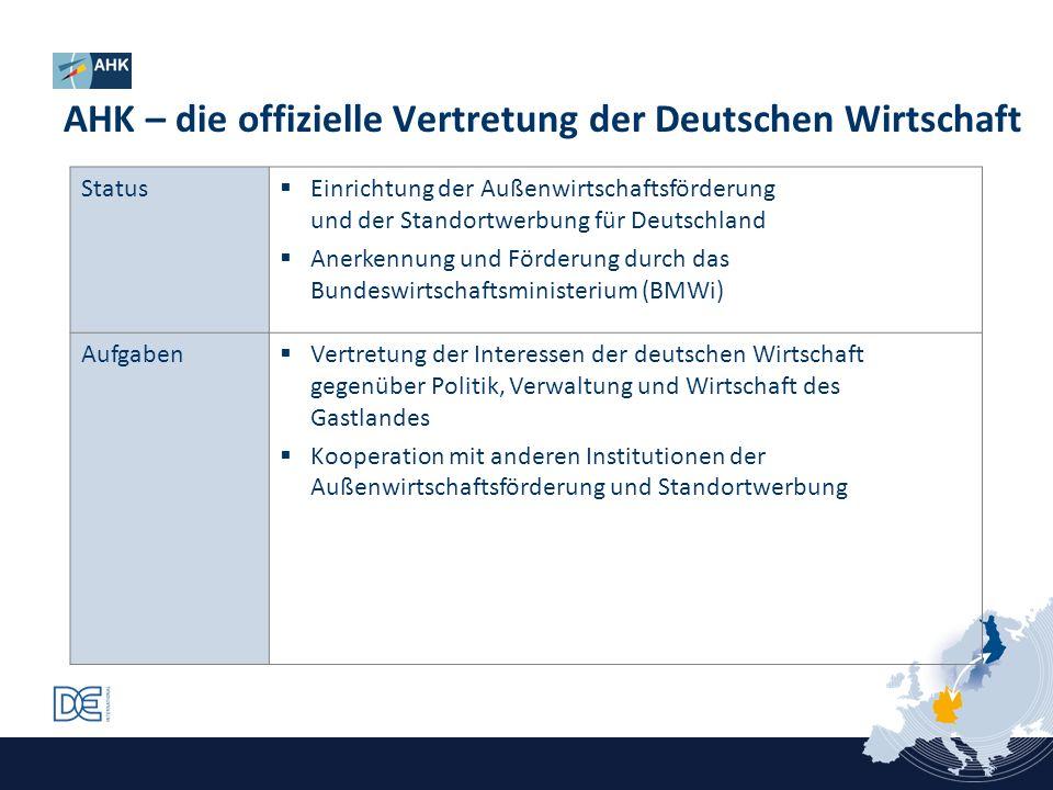Status Einrichtung der Außenwirtschaftsförderung und der Standortwerbung für Deutschland Anerkennung und Förderung durch das Bundeswirtschaftsminister