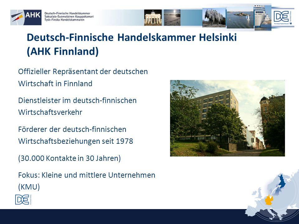 Offizieller Repräsentant der deutschen Wirtschaft in Finnland Dienstleister im deutsch-finnischen Wirtschaftsverkehr Förderer der deutsch-finnischen W