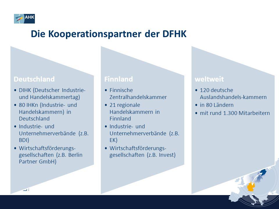 Die Kooperationspartner der DFHK Deutschland DIHK (Deutscher Industrie- und Handelskammertag) 80 IHKn (Industrie- und Handelskammern) in Deutschland I