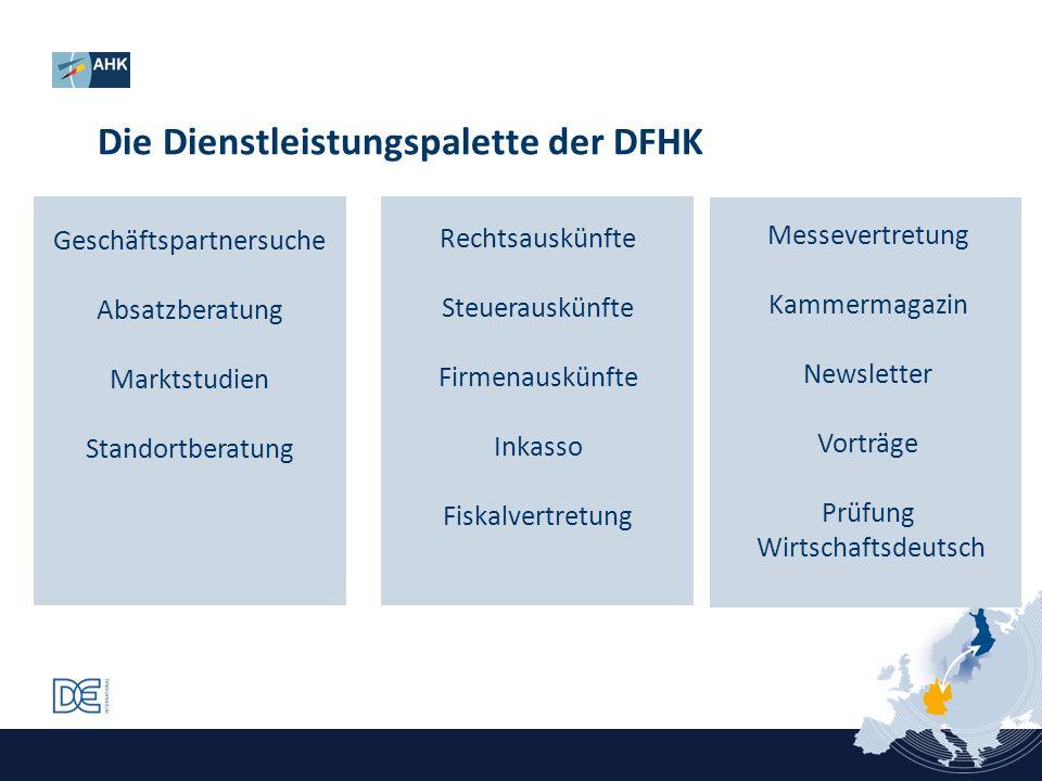 Die Dienstleistungspalette der DFHK Geschäftspartnersuche Absatzberatung Marktstudien Standortberatung Rechtsauskünfte Steuerauskünfte Firmenauskünfte