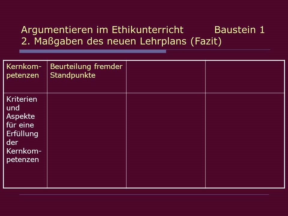 Argumentieren im Ethikunterricht Baustein 1 2.