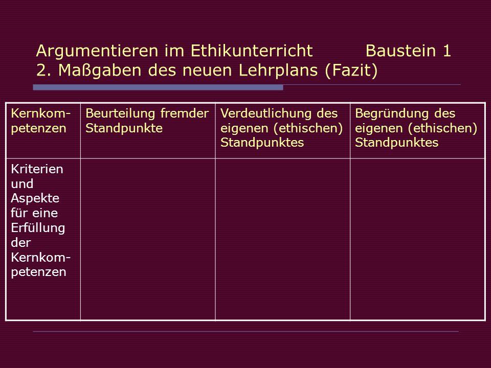 Argumentieren im Ethikunterricht Baustein 1 2. Maßgaben des neuen Lehrplans (Fazit) Kernkom- petenzen Beurteilung fremder Standpunkte Verdeutlichung d