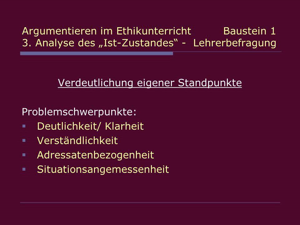 Verdeutlichung eigener Standpunkte Problemschwerpunkte: Deutlichkeit/ Klarheit Verständlichkeit Adressatenbezogenheit Situationsangemessenheit