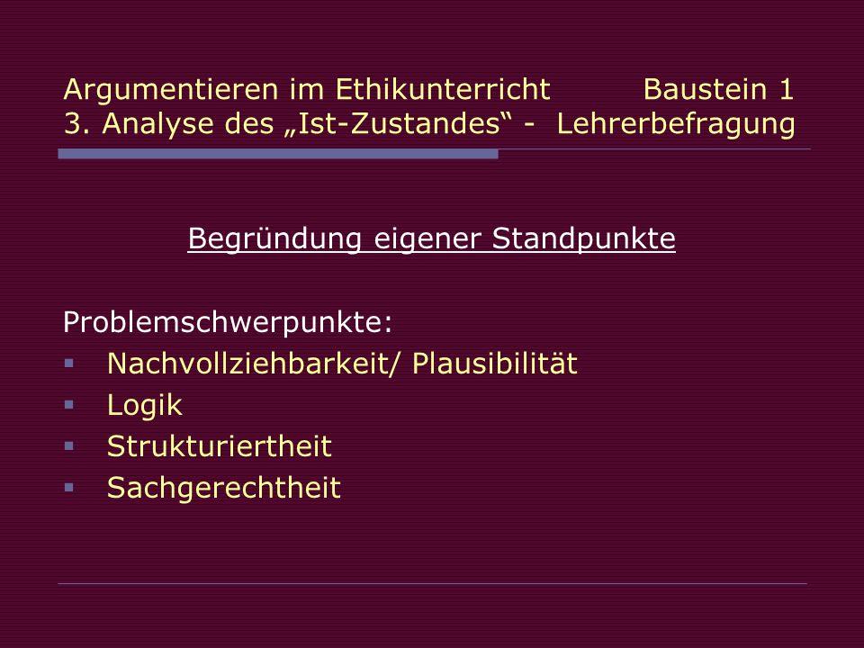 Begründung eigener Standpunkte Problemschwerpunkte: Nachvollziehbarkeit/ Plausibilität Logik Strukturiertheit Sachgerechtheit
