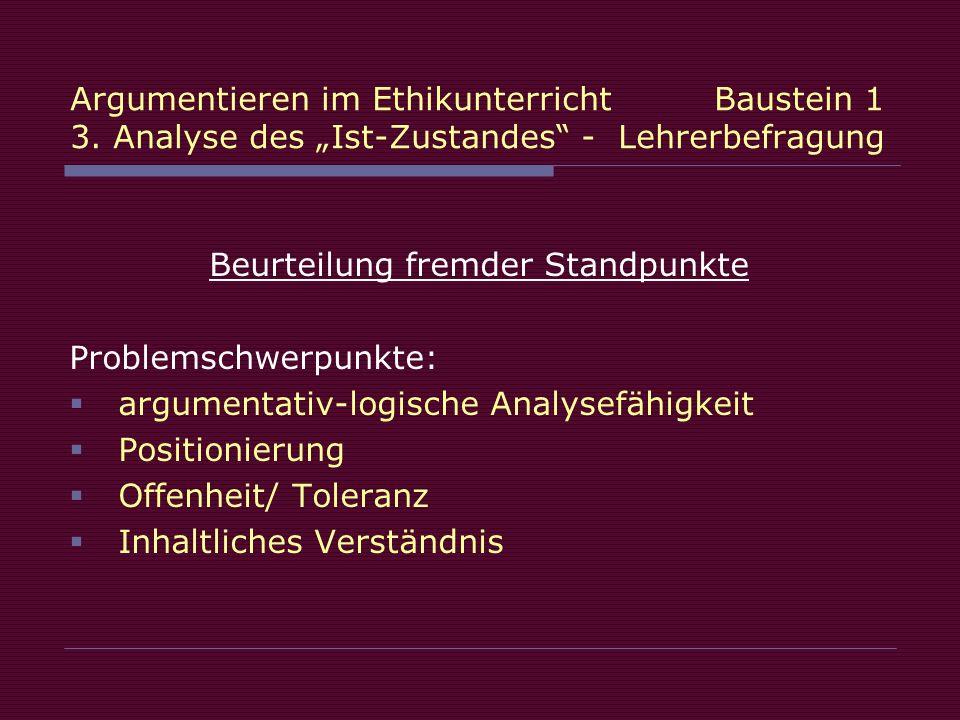 Beurteilung fremder Standpunkte Problemschwerpunkte: argumentativ-logische Analysefähigkeit Positionierung Offenheit/ Toleranz Inhaltliches Verständnis