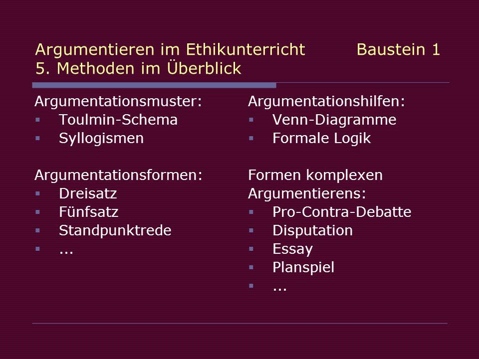 Argumentieren im Ethikunterricht Baustein 1 5. Methoden im Überblick Argumentationsmuster: Toulmin-Schema Syllogismen Argumentationsformen: Dreisatz F