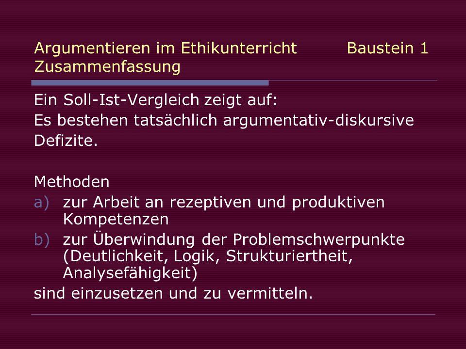 Argumentieren im Ethikunterricht Baustein 1 Zusammenfassung Ein Soll-Ist-Vergleich zeigt auf: Es bestehen tatsächlich argumentativ-diskursive Defizite