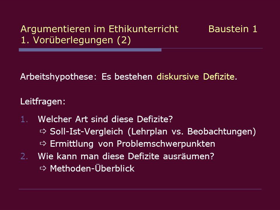 Argumentieren im Ethikunterricht Baustein 1 1. Vorüberlegungen (2) Arbeitshypothese: Es bestehen diskursive Defizite. Leitfragen: 1.Welcher Art sind d