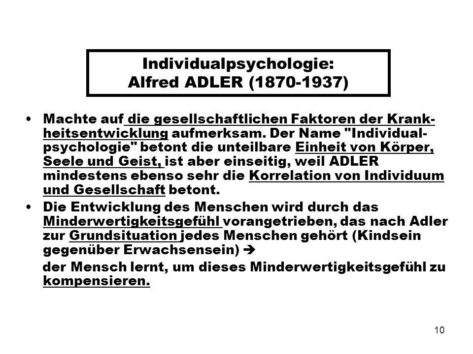 10 Individualpsychologie: Alfred ADLER (1870-1937) Machte auf die gesellschaftlichen Faktoren der Krank- heitsentwicklung aufmerksam. Der Name