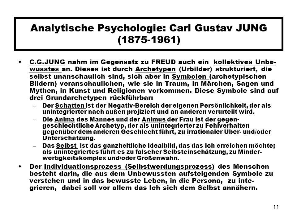 11 Analytische Psychologie: Carl Gustav JUNG (1875-1961) C.G.JUNG nahm im Gegensatz zu FREUD auch ein kollektives Unbe- wusstes an. Dieses ist durch A