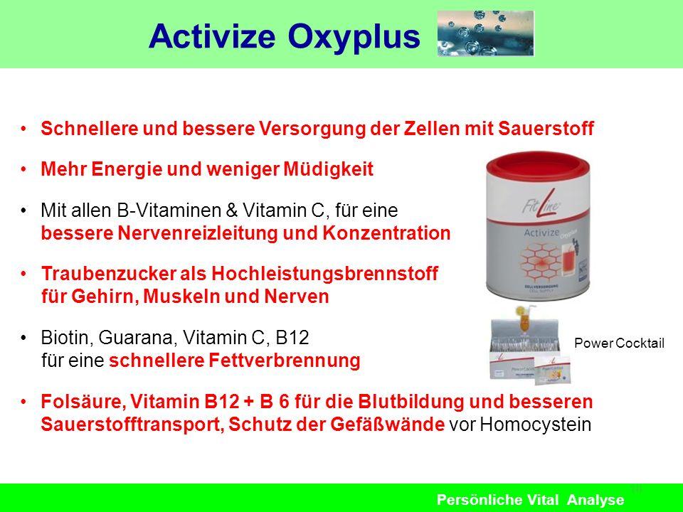 Persönliche Vital Analyse Activize Oxyplus 18 Schnellere und bessere Versorgung der Zellen mit Sauerstoff Mehr Energie und weniger Müdigkeit Mit allen