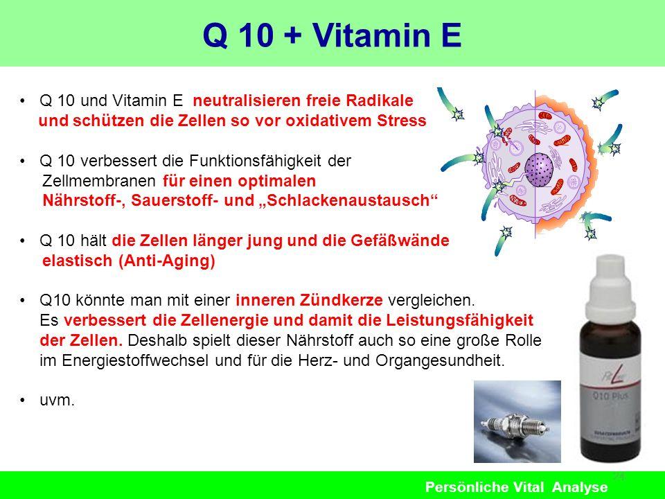 Persönliche Vital Analyse Q 10 + Vitamin E 24 Q 10 und Vitamin E neutralisieren freie Radikale und schützen die Zellen so vor oxidativem Stress Q 10 v