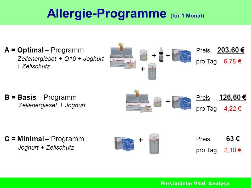 Persönliche Vital Analyse A = Optimal – Programm Zellenergieset + Q10 + Joghurt + Zellschutz Preis 203,60 pro Tag 6,78 B = Basis – Programm Zellenergi