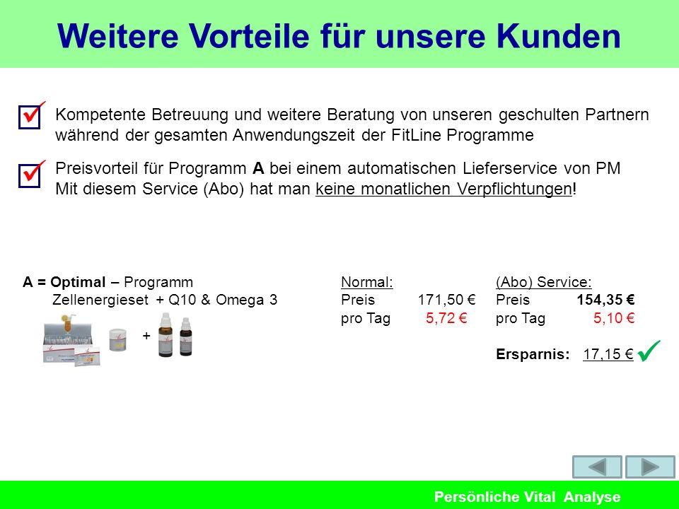 Persönliche Vital Analyse A = Optimal – Programm Zellenergieset + Q10 & Omega 3 Normal: Preis 171,50 pro Tag 5,72 (Abo) Service: Preis 154,35 pro Tag