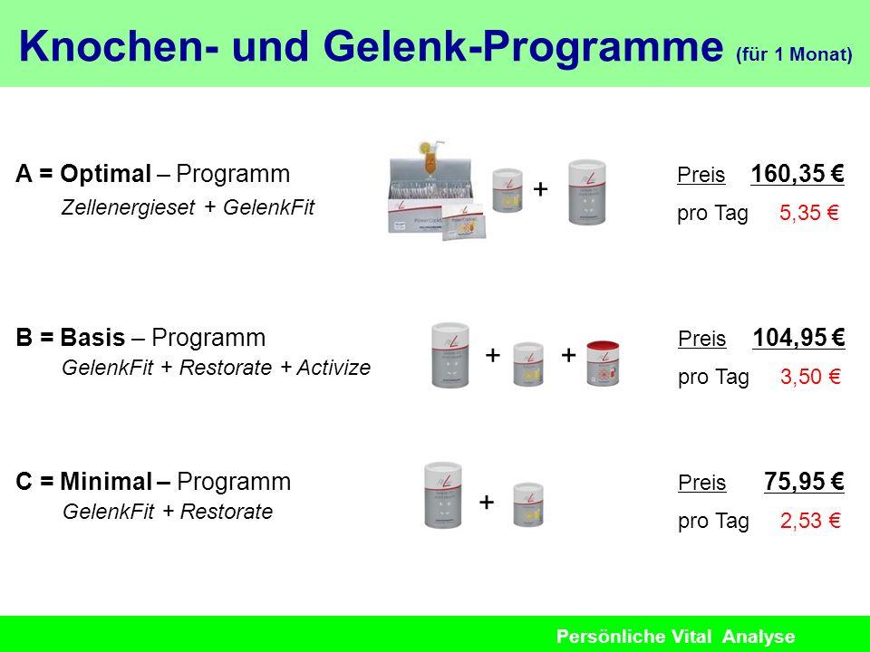 Persönliche Vital Analyse A = Optimal – Programm Zellenergieset + GelenkFit Preis 160,35 pro Tag 5,35 B = Basis – Programm GelenkFit + Restorate + Act