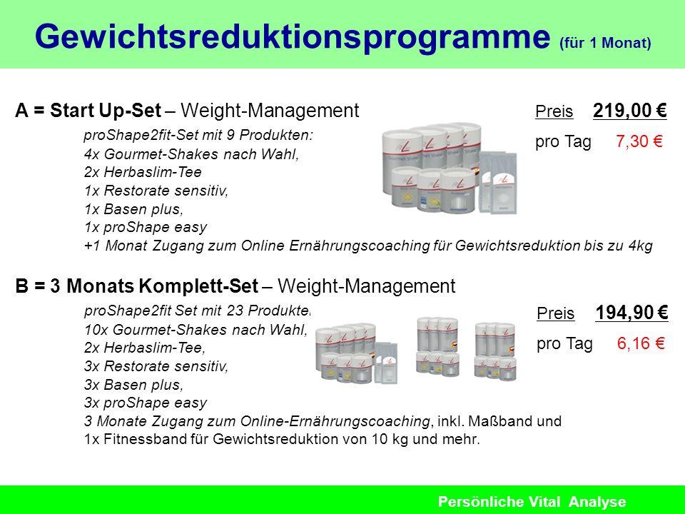 Persönliche Vital Analyse A = Start Up-Set – Weight-Management proShape2fit-Set mit 9 Produkten: 4x Gourmet-Shakes nach Wahl, 2x Herbaslim-Tee 1x Rest