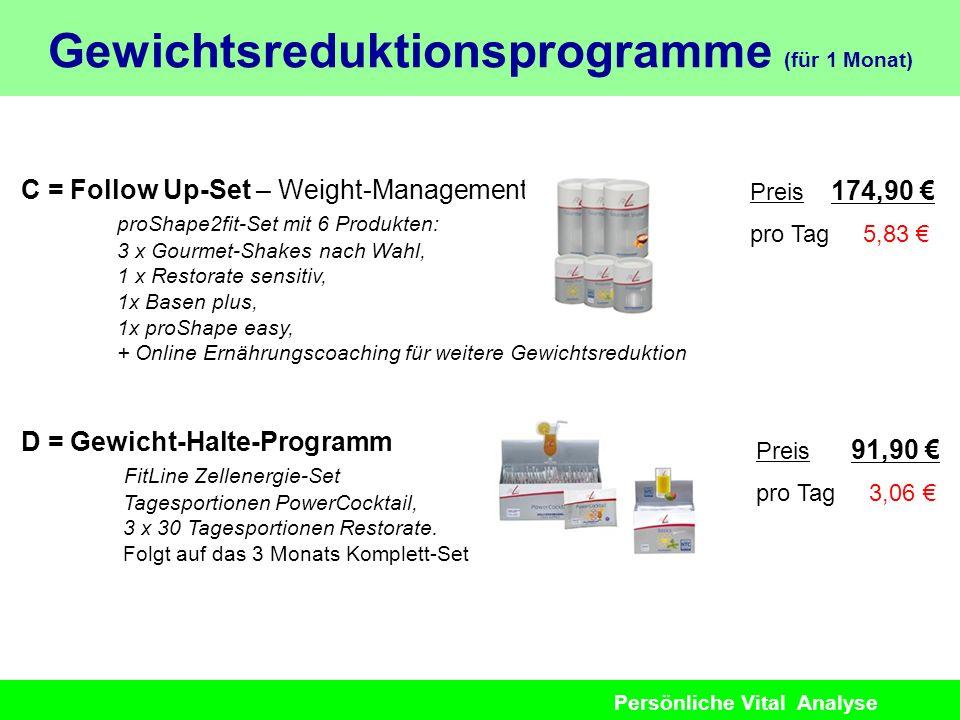 Persönliche Vital Analyse C = Follow Up-Set – Weight-Management proShape2fit-Set mit 6 Produkten: 3 x Gourmet-Shakes nach Wahl, 1 x Restorate sensitiv