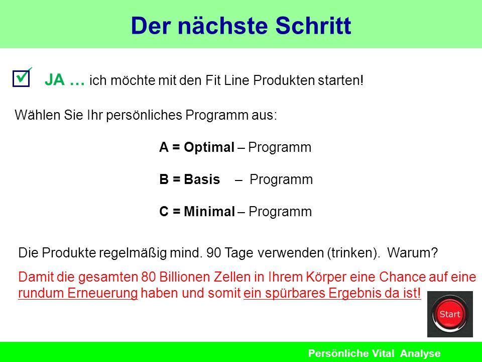 Persönliche Vital Analyse JA … ich möchte mit den Fit Line Produkten starten! Wählen Sie Ihr persönliches Programm aus: A = Optimal – Programm B = Bas