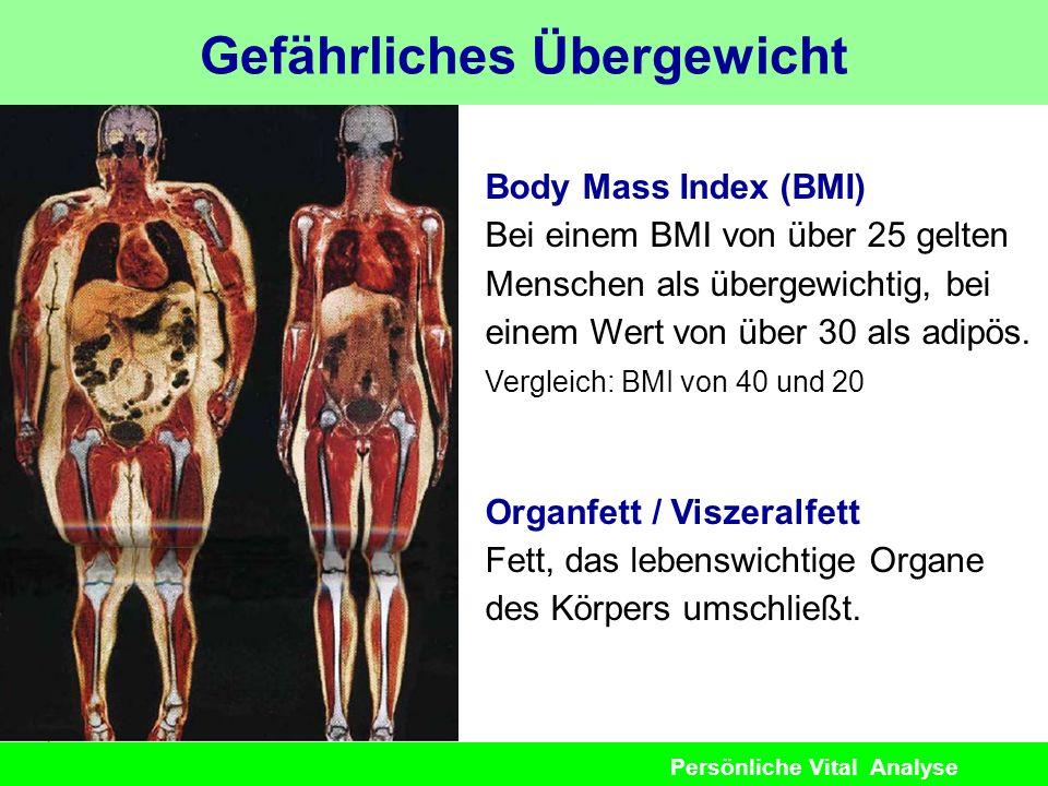 Persönliche Vital Analyse Gefährliches Übergewicht Body Mass Index (BMI) Bei einem BMI von über 25 gelten Menschen als übergewichtig, bei einem Wert v