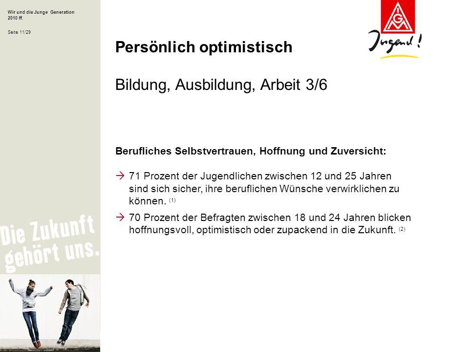 Wir und die Junge Generation 2010 ff. Seite 11/29 Berufliches Selbstvertrauen, Hoffnung und Zuversicht: 71 Prozent der Jugendlichen zwischen 12 und 25